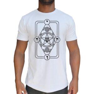 Camiseta Escudo mágico de Radiestesia. Usado como pantáculo de proteção contra toda a ação mágica voluntária ou involuntária.